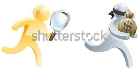 Métallique personnage mascotte dessinée épée lutte duel Photo stock © Krisdog