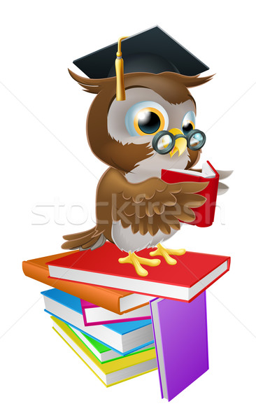 Wise owl reading Stock photo © Krisdog