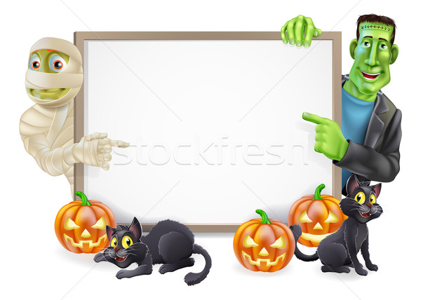 Halloween Sign with Mummy and Frankenstein Stock photo © Krisdog