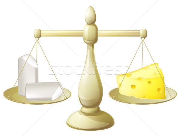 Comparing chalk and cheese scales Stock photo © Krisdog