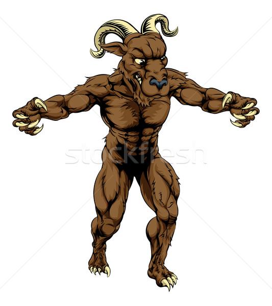 Widder Monster Maskottchen Illustration Sport Zeichen Stock foto © Krisdog