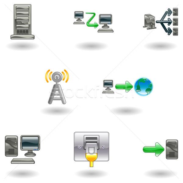 Glossy Computer Network Icon Set Stock photo © Krisdog