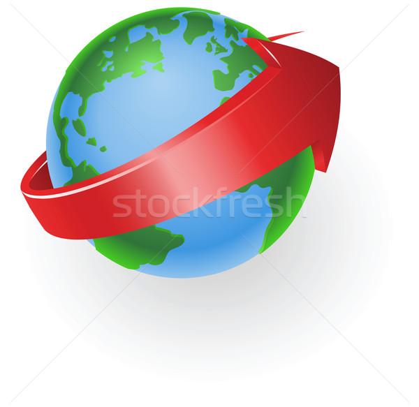 Globo seta ilustração vermelho em torno de mundo Foto stock © Krisdog