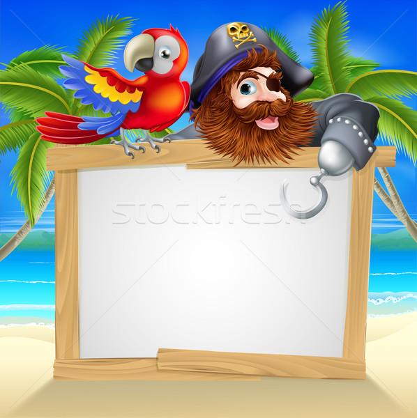 Pirate and parrot beach sign Stock photo © Krisdog