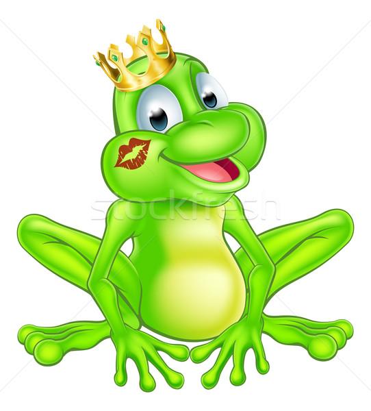 Desenho animado sapo príncipe ilustração bonitinho mascote Foto stock © Krisdog