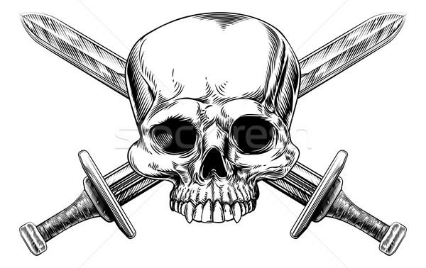 Skull and Cross Swords Woodcut Stock photo © Krisdog