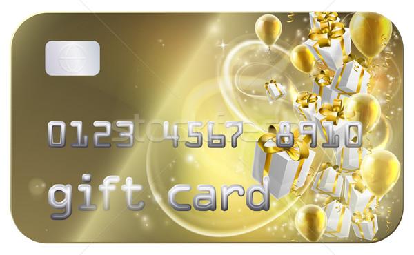 Złota gift card karty kredytowej stylu prezenty balony Zdjęcia stock © Krisdog