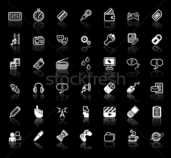 Internet media application icon set Stock photo © Krisdog
