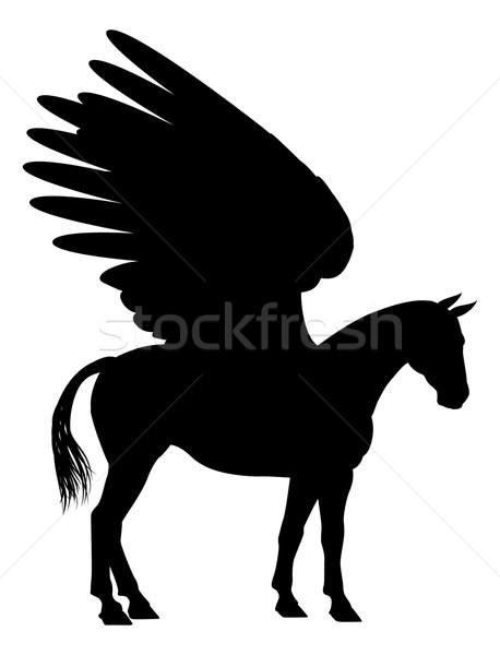 Сток-фото: силуэта · мифический · лошади · фон · работает · ног