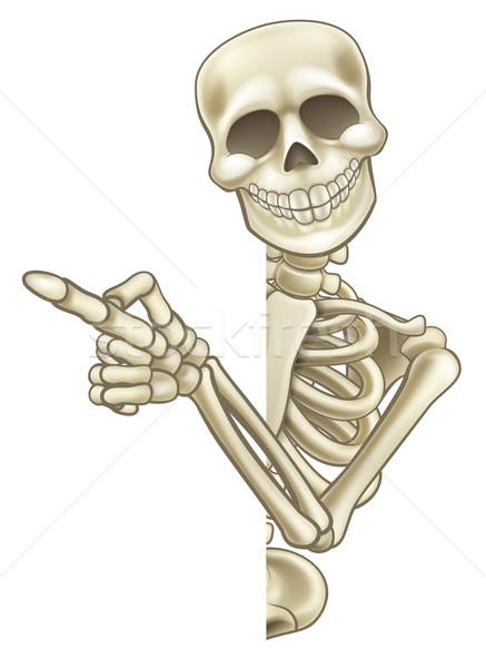 Skeleton Cartoon Peeking Round Sign and Pointing Stock photo © Krisdog