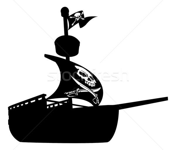 Stock fotó: Kalóz · hajó · sziluett · illusztráció · csónak · repülés