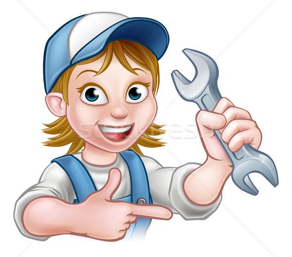 Mechanic or Plumber Woman Cartoon Character Stock photo © Krisdog