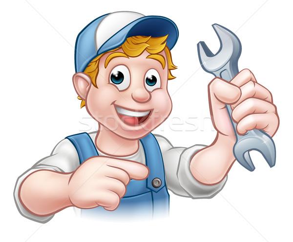 Cartoon Mechanic or Plumber with Spanner Stock photo © Krisdog