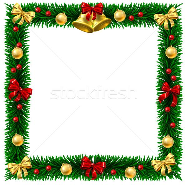 Christmas Wreath Border Frame Stock photo © Krisdog