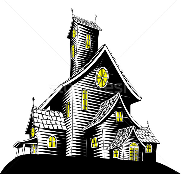 Scary haunted house illustration Stock photo © Krisdog