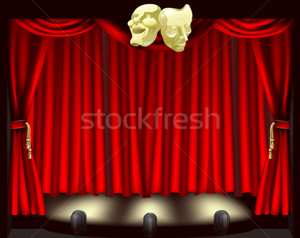 Theatre stage with masks Stock photo © Krisdog