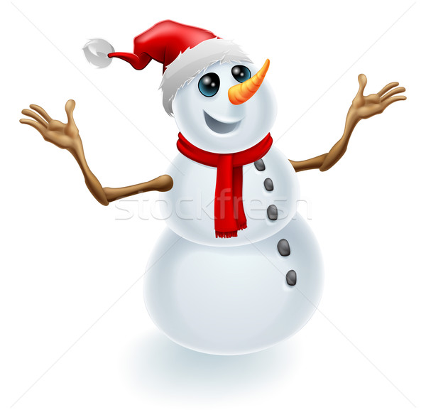 Christmas Snowman Wearing Santa Hat Stock photo © Krisdog