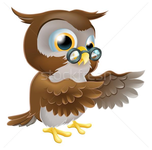 Pointing Cute Cartoon Owl Stock photo © Krisdog