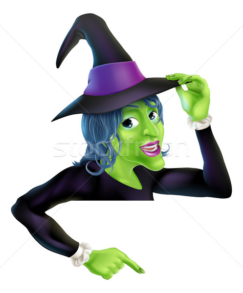 Halloween witch pointing Stock photo © Krisdog