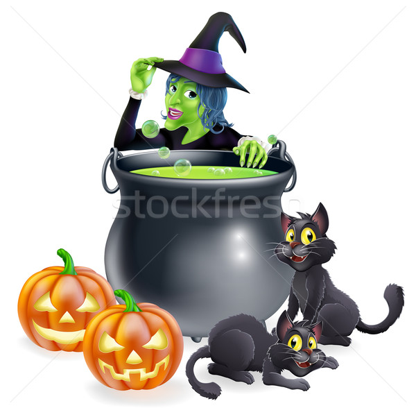Witch Cartoon Halloween Scene Stock photo © Krisdog