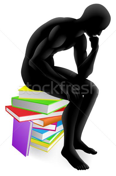 Thinker thinking sitting on books Stock photo © Krisdog
