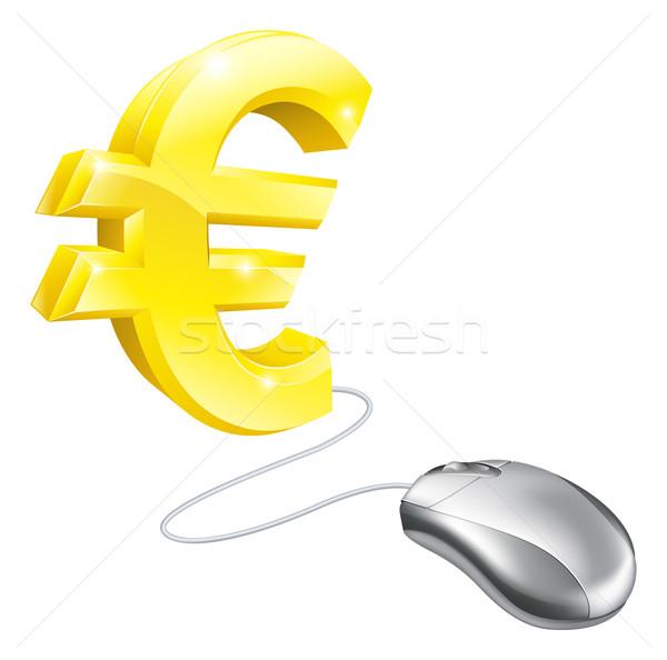 Bilgisayar fare euro altın imzalamak iş bilgisayar Stok fotoğraf © Krisdog