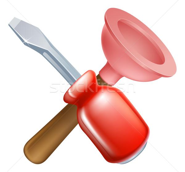 Schroevendraaier tools icon cartoon bouw Stockfoto © Krisdog