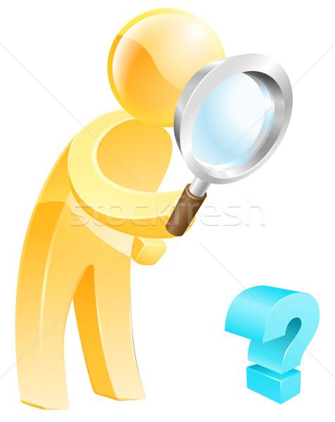 Olhando responder pessoa lupa olhando para baixo ponto de interrogação Foto stock © Krisdog