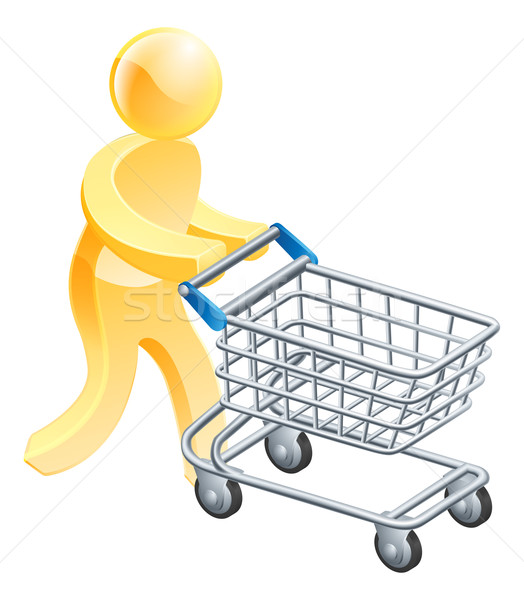 Shopping trolley gold man Stock photo © Krisdog