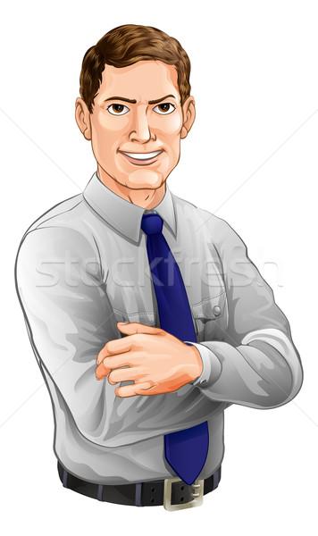 Stockfoto: Knappe · man · armen · gevouwen · illustratie · shirt
