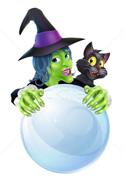 Witch black cat and crystal ball Stock photo © Krisdog