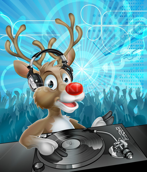Stock photo: Christmas Reindeer Party DJ