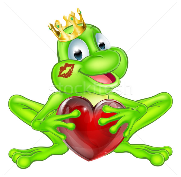 Frog prince with crown and heart Stock photo © Krisdog
