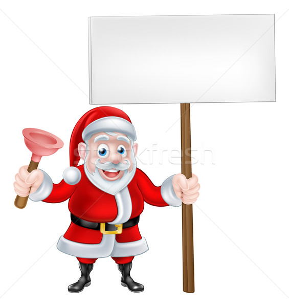 Cartoon Santa Holding Plunger and Sign Stock photo © Krisdog