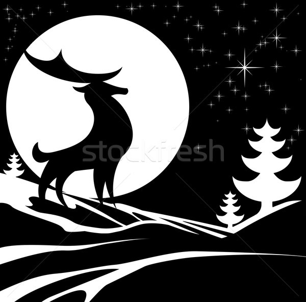 Winter Stag Illustration Stock photo © Krisdog