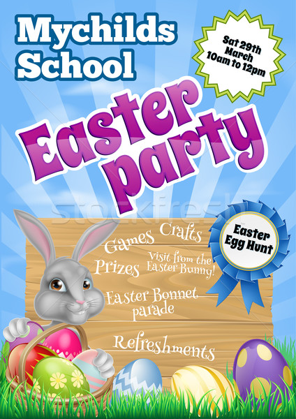 Cartoon Easter Bunny Invite Stock photo © Krisdog