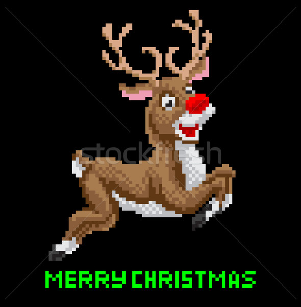 Santas Reindeer Christmas Pixel Art Stock photo © Krisdog