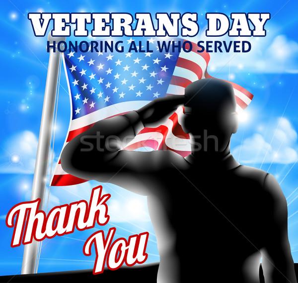 Sziluett katona amerikai zászló nap terv integet Stock fotó © Krisdog
