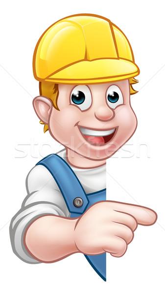 Handyman Builder Worker in Hard Hat Stock photo © Krisdog