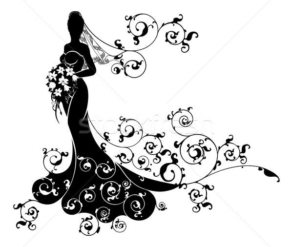Bride Abstract Wedding Silhouette Design Stock photo © Krisdog