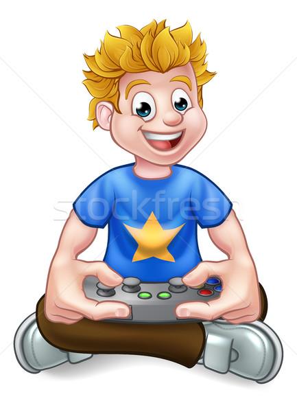 Videogioco cartoon giocare videogiochi felice Foto d'archivio © Krisdog