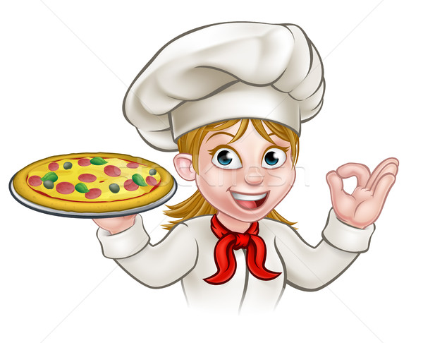 Cartoon chef vrouw pizza Stockfoto © Krisdog