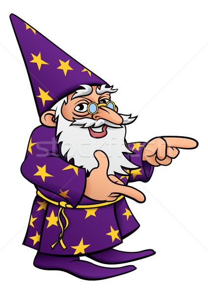 Wizard Cartoon Mascot Pointing Stock photo © Krisdog