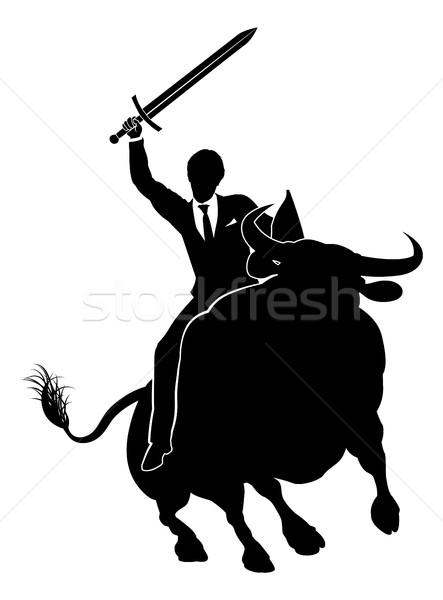 Businessman Riding Bull Concept Stock photo © Krisdog