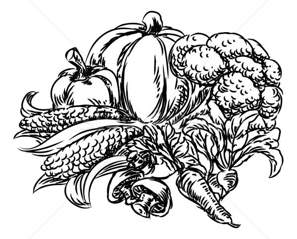 Vegetables Grunge Style Hand Drawn Icon Stock photo © Krisdog