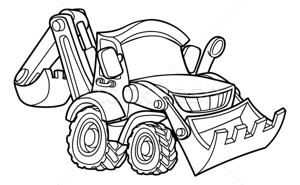 Cartoon Vehicle Bulldozer Digger Stock photo © Krisdog