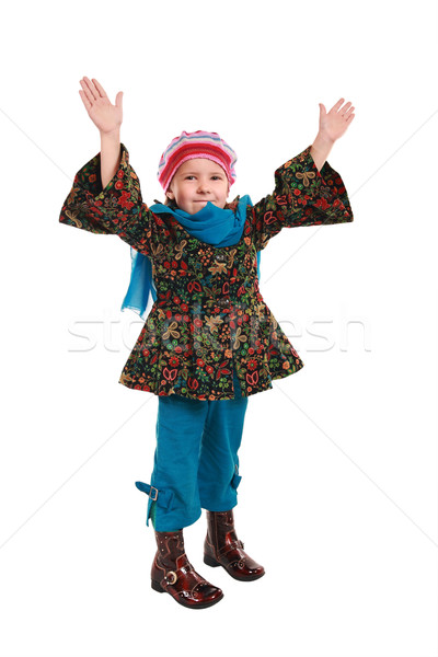 Satisfied girl in fashionable clothes  Stock photo © krugloff
