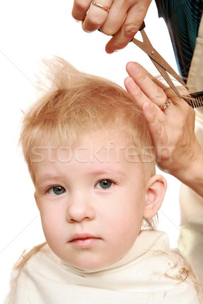 Mains ciseaux garçon maison heureux Photo stock © krugloff