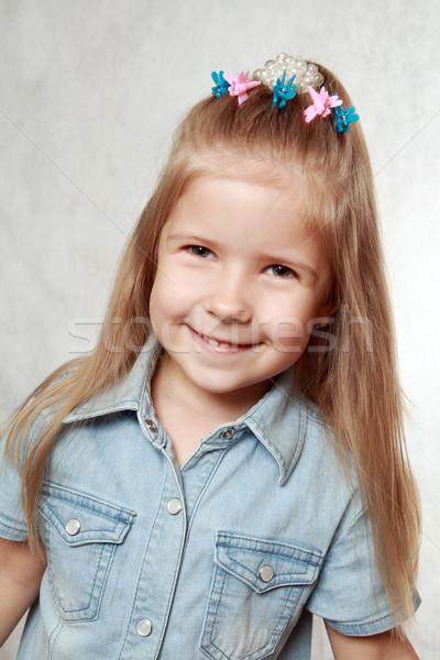 Jó hangulat portré derűs lány szürke haj Stock fotó © krugloff