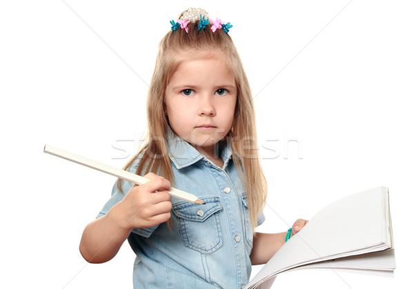 özenli çocuk kız gözler saç kalem Stok fotoğraf © krugloff